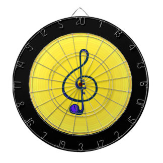 Treble horn clef blue with yellow circle dartboard