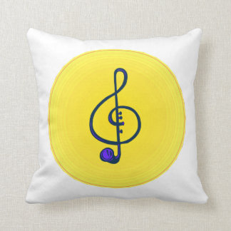 Treble horn clef blue with yellow circle throw cushion