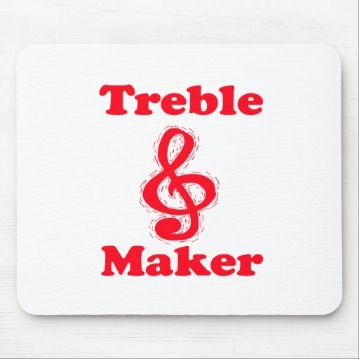 treble maker clef red music design mouse pad