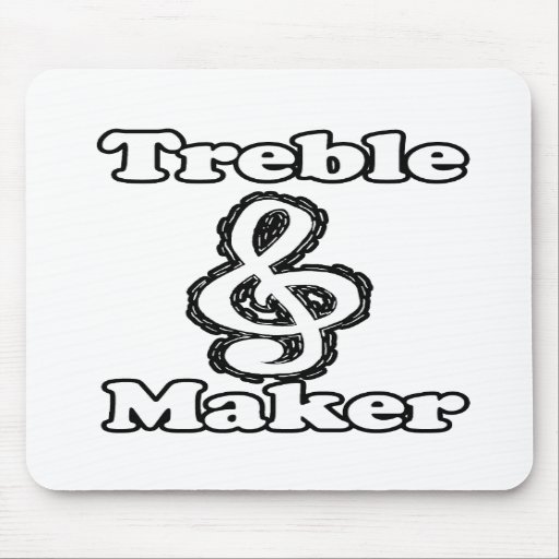 treble maker clef white blk outline music humour mouse pads