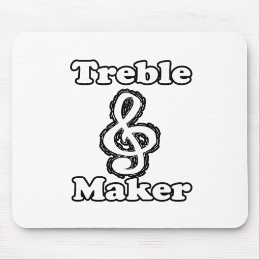 treble maker clef white blk outline music humour mousepad