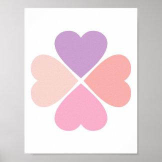 Trebol de amor de corazones de día de San Valentín Posters