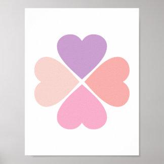 Trébol de suerte de corazones día de San Valentín Impresiones