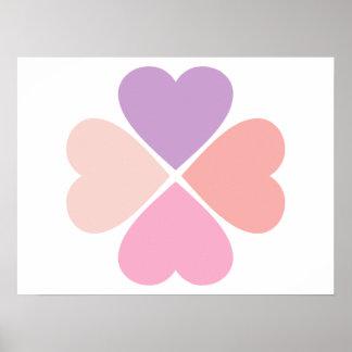 Trebol del amor de corazones rosa de San Valentín Poster