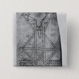 Trebuchet, machine to throw arrows 15 cm square badge