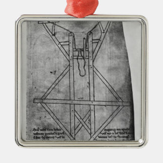 Trebuchet, machine to throw arrows Silver-Colored square decoration