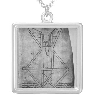 Trebuchet, machine to throw arrows silver plated necklace