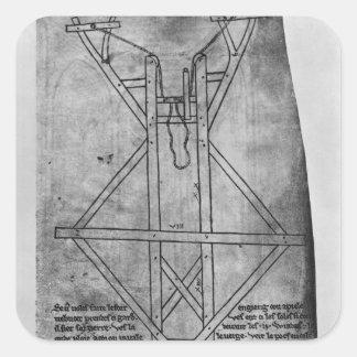Trebuchet, machine to throw arrows square sticker