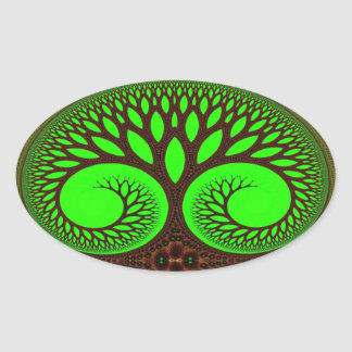 Tree 2 Fractal Art Oval Sticker