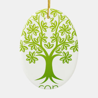 Tree Abstract Concept Ceramic Oval Decoration