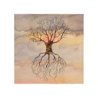 Tree Against The Sky Wood Print