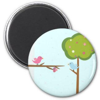 Tree and birds 6 cm round magnet