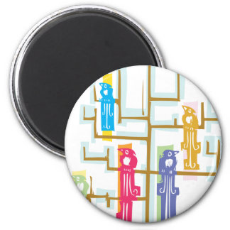 Tree and Color Birds 6 Cm Round Magnet