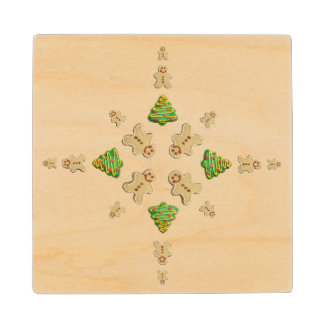 Tree and Gingerbread Man Cookie Snowflake Wood Coaster