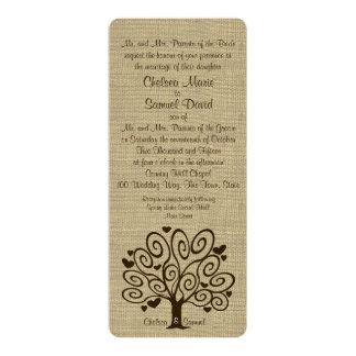 Tree and Hearts Wedding 10 Cm X 24 Cm Invitation Card