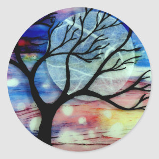 Tree and Ink Transparent Layers Round Sticker