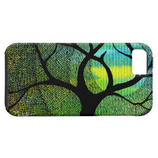 Tree and Moon - Blue and Yellow Watercolors iPhone 5 Cases