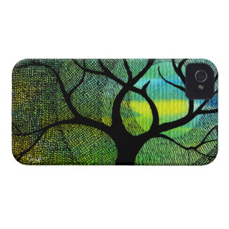 Tree and Moon - Blue and Yellow Watercolors iPhone 4 Case