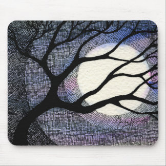Tree and Moon Cross Hatched Mouse Mat