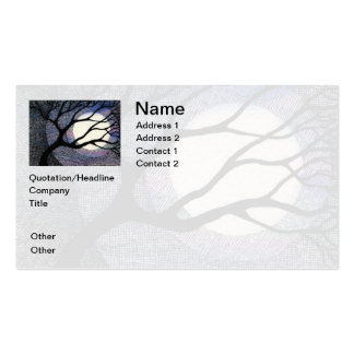 Tree and Moon Cross Hatched Pack Of Standard Business Cards