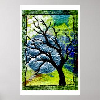 Tree and Moon Fiber Art Posters