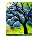 Tree and Moon Fibre Art Post Card