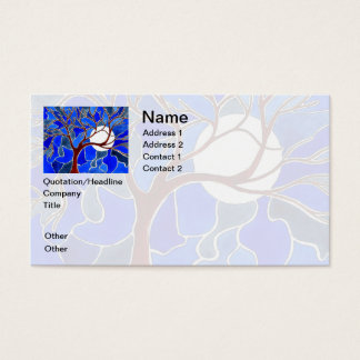 Tree and Moon on Canvas - Blue Business Card