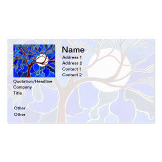 Tree and Moon on Canvas - Blue Business Card Template