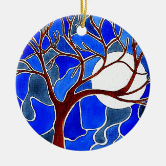 Tree and Moon on Canvas - Blue Christmas Ornament