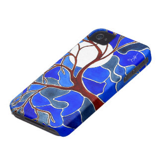 Tree and Moon on Canvas - Blue iPhone 4 Case-Mate Case