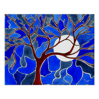 Tree and Moon on Canvas - Blue Posters