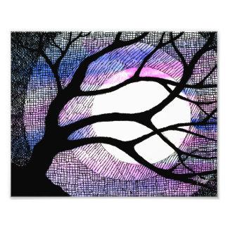 Tree and Moon - Pink Purple Photo Print