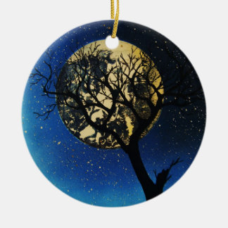 tree and moon round ceramic decoration