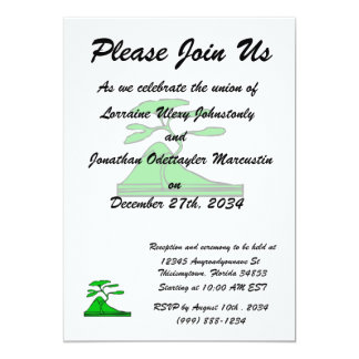 "tree and mountain green.png 5"" x 7"" invitation card"