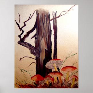Tree and Mushrooms Print