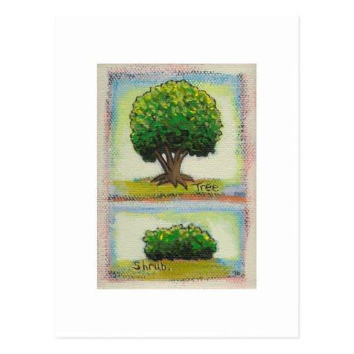 Tree and Shrub - Tiny Art miniature painting Post Cards