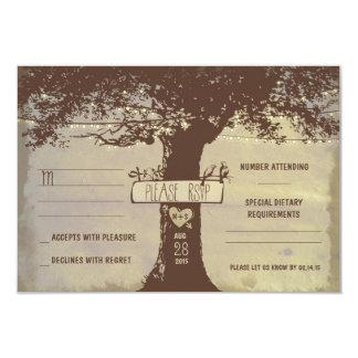 tree and string lights wedding RSVP cards Invites