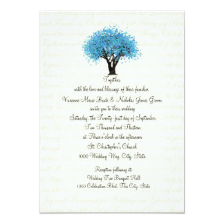 Tree and Text Design Wedding Blue 13 Cm X 18 Cm Invitation Card