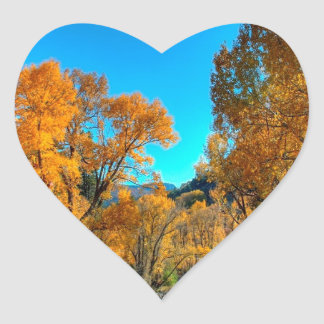 Tree Autumn Leaves River Heart Sticker