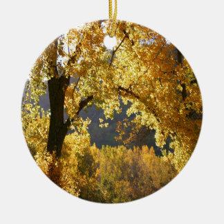 Tree Autumn Yellow Christmas Ornament