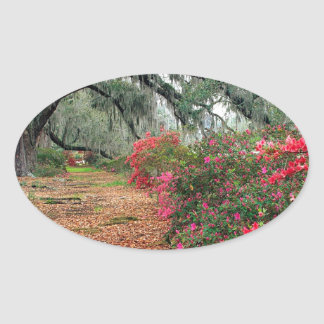 Tree Azaleas And Live Oaks Plantation Oval Sticker