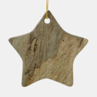 Tree Bark III Natural Abstract Textured Design Ceramic Star Decoration