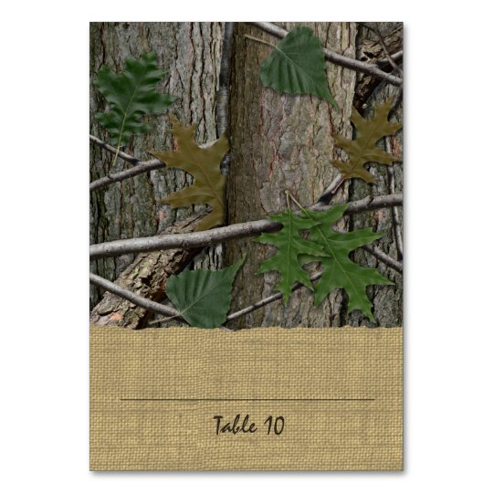 Tree Bark Leaves and Burlap Place Card