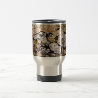 Tree bark pattern stainless steel travel mug