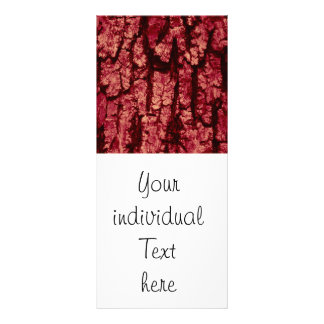 tree bark structure, red customised rack card