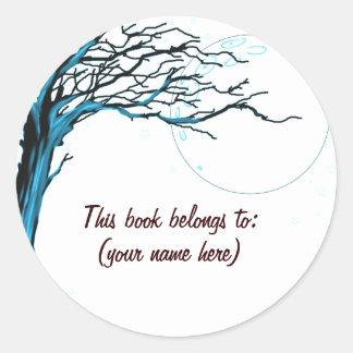 Tree, blue classic round sticker