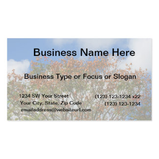 Tree Blue Sky Orange Flowers Image Business Cards