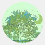 Tree Blues Round Sticker