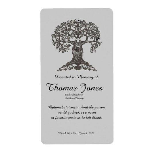 Tree Book Donated in Memory of Bookplate ..