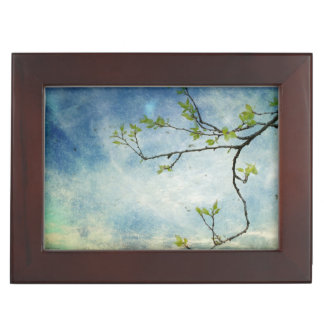 Tree Branch Over Textured Sky Keepsake Box